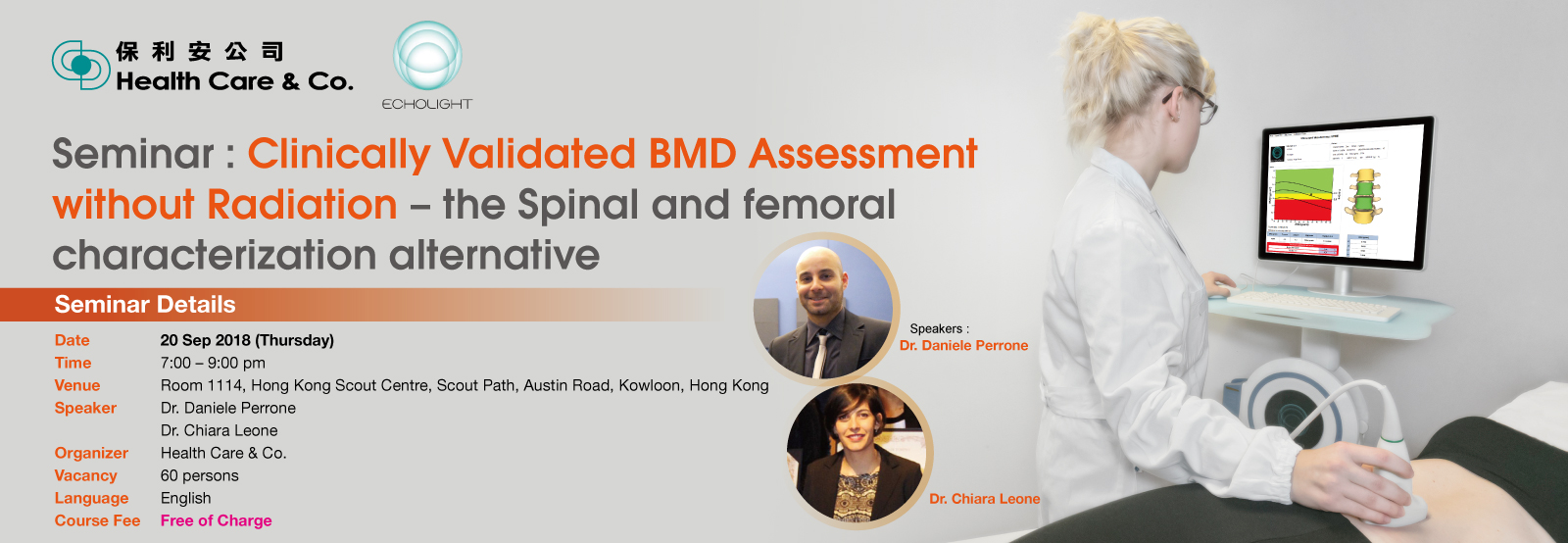 Seminar: Clinically Validated Bone Mineral Density (BMD) Assessment without Radiation – the Spinal and Femoral Characterization Alternative